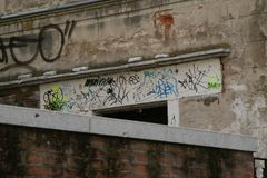 Venice, vandal graffiti on a door lintel royalty free stock image
