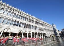 VENICE, VE, ITALY - January 31, 2015:bar tables and the palazzo Royalty Free Stock Image