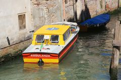 Venice, VE - Italy. 14th July, 2015: ambulance ship moored in a Royalty Free Stock Photography