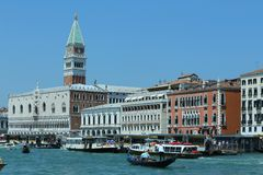 Venice, VE - Italy. 14th July, 2015:  Doge's Palace and the Bell Royalty Free Stock Images