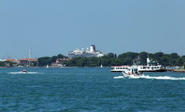 Venice, VE - Italy. 14th July, 2015: huge cruise ship in the Can Royalty Free Stock Photo
