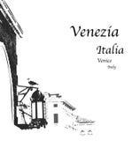 Venice. Vector illustration,  Venice, seagull in the city Stock Photos