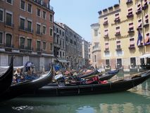 Orseolo basin - gondole station. Venice, Veneto, Italy - June 3, 2014: Landing point behind San Marco square stock images