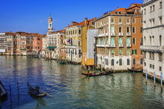 Venice - Venezia. A typical view of Venice with gondoliers stock photos