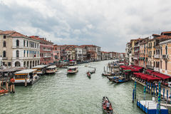 Venice. And gondolas, Grand Canal and palaces, summer Stock Photo