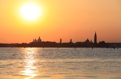 Venice view. Beautiful Venice view from the seaside during sunset Stock Photo