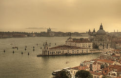 Venice, view from above. Venice, view over waterways and historical buildings royalty free stock photo