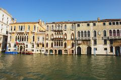 Venice. View from the boat on the Grand Canal, Venice Royalty Free Stock Photo