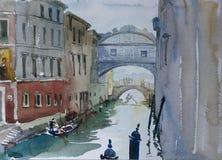 Venice view on Bridge of Sighs Ponte dei Sospiri original waterc Royalty Free Stock Images