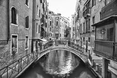 Venice view of canals bw Royalty Free Stock Images