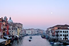 Venice view in evening. With moon during sunset stock image