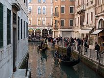Venice view with gondolas and masks Royalty Free Stock Photography