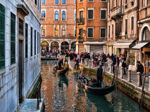 Venice view with gondolas and masks Stock Image
