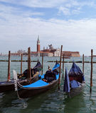 Venice. A view of St Giorgio Maggiore Island with three gondolas at the front Royalty Free Stock Photos