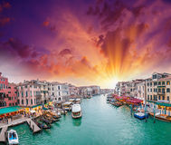 Venice. View of Grand Canal at dusk from Rialto Bridge Stock Photos