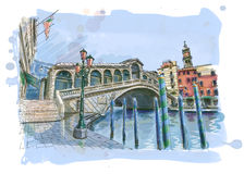 Venice - View of the Rialto Bridge Royalty Free Stock Image