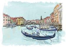 Venice - View of the Rialto Bridge. Stock Photos