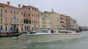 Venice view from water bus boat to pier stock video