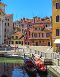 Venice - View from water canal to old buildings Royalty Free Stock Photos