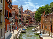Venice - View from water canal to old buildings Stock Photos