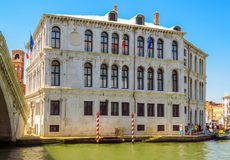 Venice - View from water canal to old buildings Royalty Free Stock Photo