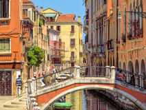 Venice - View from water street to old buildings Stock Photography