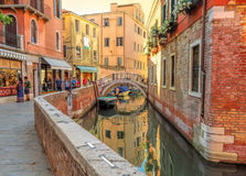 Venice - View from water street to old buildings Royalty Free Stock Image