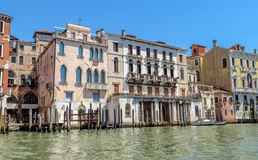 Venice - View from water street to old buildings Stock Photos