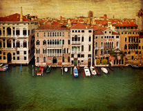 Venice, vintage bird's-eye view of the Grand Canal Stock Photos