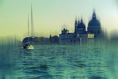 Venice in vintage, seen from the sea Royalty Free Stock Images