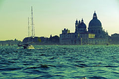 Venice in vintage, seen from the sea Stock Photo