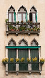 Venice vintage windows. Decorative windows in Venice, Italy royalty free stock photo