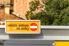 Venice warning sign on vaporetto station Stock Image