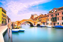 Venice, water canal and bridge in Cannaregio. Italy. Long exposure photography Stock Image