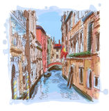 Venice - water canal, old buildings Royalty Free Stock Photo