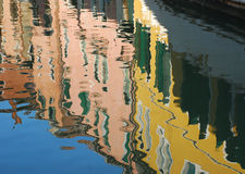 Venice, canal houses water reflections. Venezia, typical venetian houses reflection on canal water royalty free stock photos