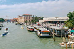 Venice. Water transport on the Grand Canal. Stock Images