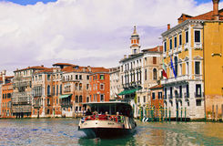 Venice,waterbus crossing Grand Canal Stock Photo