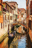 Venice watercolor style  picture. Gondola Royalty Free Stock Images