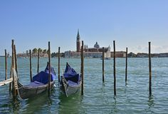 Venice. The waterfront of Venice as seen from near Piazza San Marco looking towards the church of San Giorgio Maggiore stock photo
