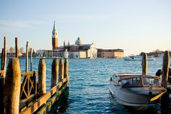Venice waterfront and church  Royalty Free Stock Images