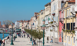 Venice - Waterfront Fondamenta Zattere ponte lungo. Royalty Free Stock Image
