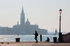 Venice - Waterfront of  Riva S. Biagio and San Giorgio Maggiore church Stock Photos