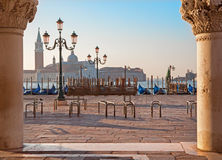 Venice - Waterfront of Saint Mark square and column of Doge palace and San Giorgio Maggiore church Stock Photos