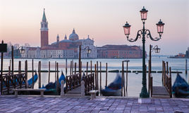 Venice - Waterfront of Saint Mark square and San Giorgio Maggiore church in background Stock Photo