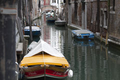 Venice waterway with boats Royalty Free Stock Photo