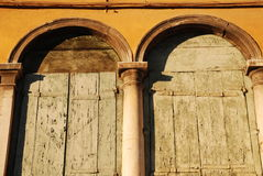 Venice Windows with Peeling Paint Royalty Free Stock Photo