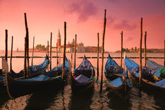 Venice With Famous Gondolas At Gentle Pink Sunrise Light, Italy Stock Photos