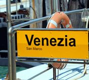 Venice written in the ferry boat stopper in italy Stock Photos