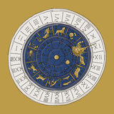Venice zodiac clock, sketch for your design Royalty Free Stock Images